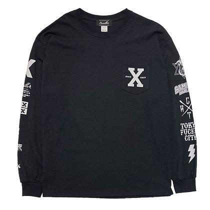"""CAMILLO   """"X""""   L/S TEE  ( BLACK )"""