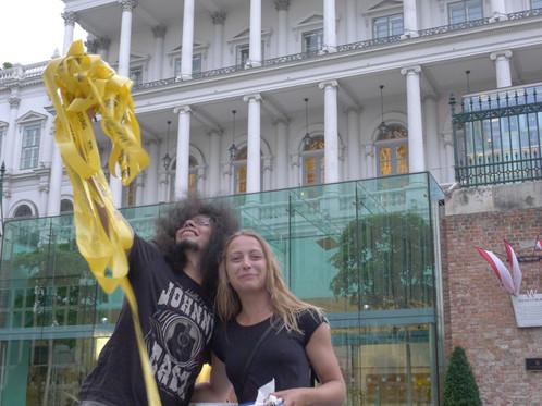 2 July 2016 infront of the hotel Palais Coburg Sassan Bahman, Milly Reid Photo: Gerhard Fabsitz