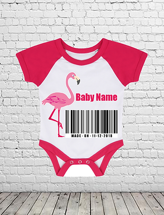 Flamingo Custom Baby Baseball Bodysuit