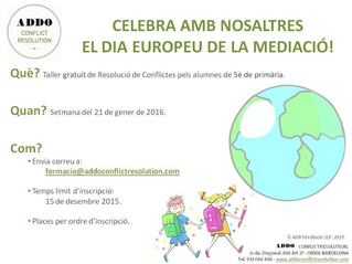 Celebrem el Dia Europeu de la mediació 2016 oferint Tallers a escoles