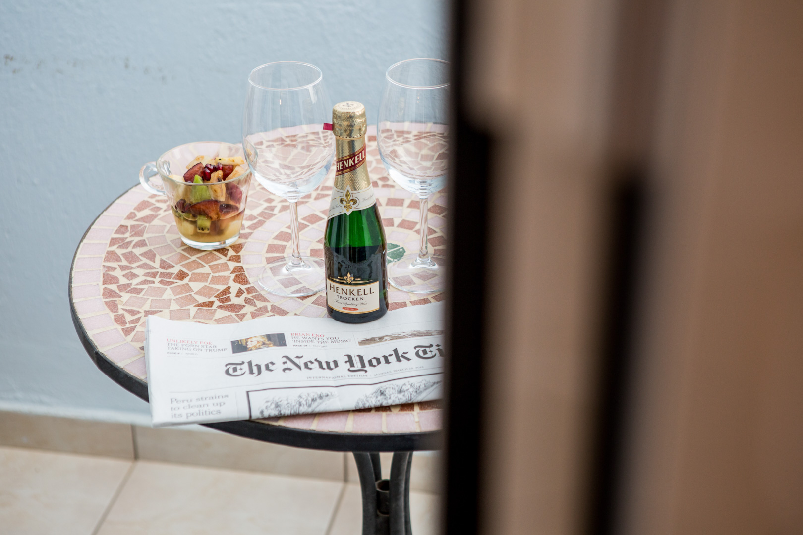 champagne in balcony,artemis hotel