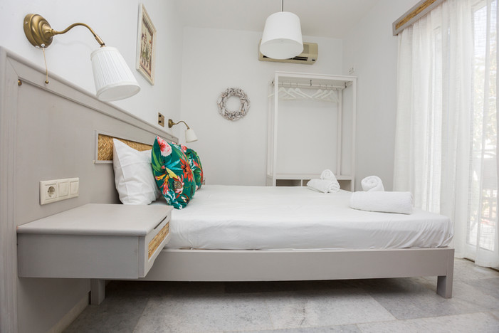 double bed,green pillows,Naxos,Agia anna
