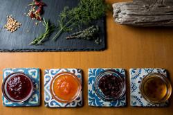 hoemade jam, orange,grape,strawberry,fig