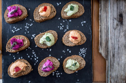black bread with dips