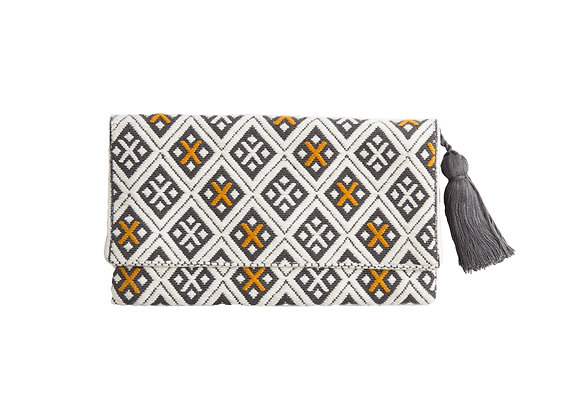Brocade wallet grey & yellow