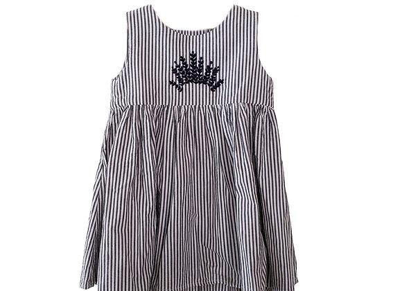 Girl striped dress blue