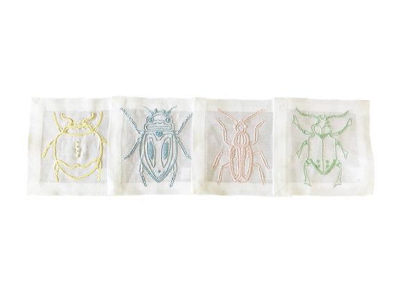 Linen Bug Coasters (set 4)