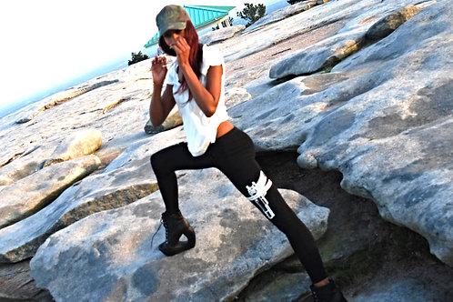 black strapped leggings lm