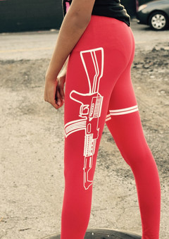 Red Strapped Leggings lm