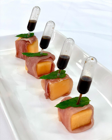 Proscuitto Wrapped Cantalope with Balsamic Pipette