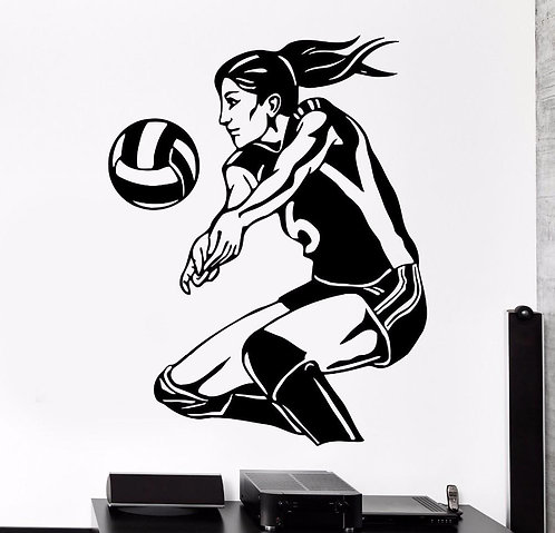 Sports girl vinyl decals for wall (22.42*28.93 inch) width * height