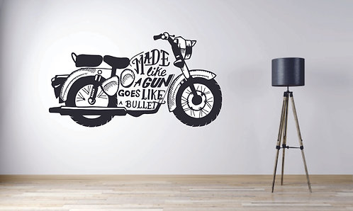 Royal enfield wall sticker , made like a gun quote