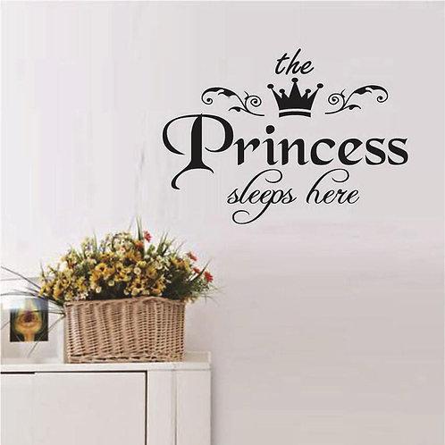 The princess sleeps here vinyl for girld bedroom