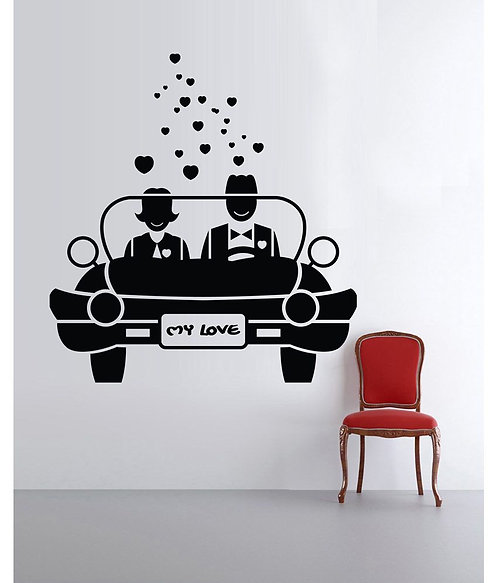 couple in car for bedroom vinyl stickers
