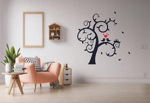 Birds and tree vinyl multicolor decals for walls