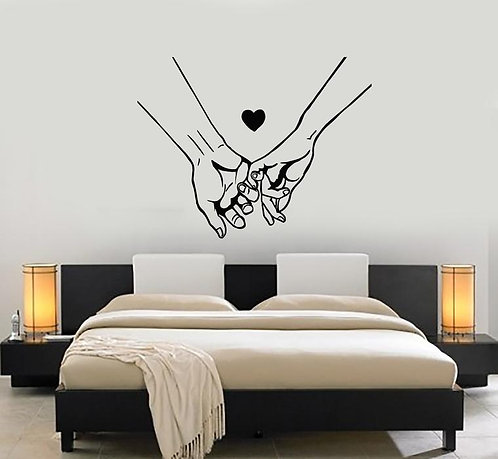 couple hand together vinyl stickers for bedroom