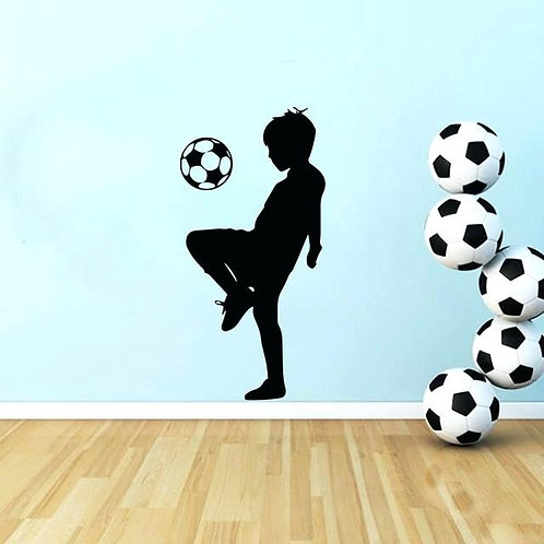 child playing football  wall vinyl decales