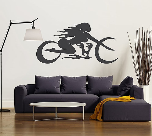 Bike driving by a girl for girl who love biking vinyl decals