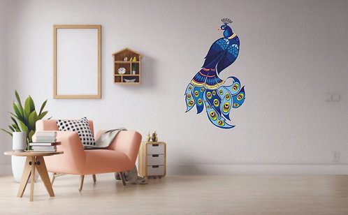 Multicolor pvc peacock sticker for wall (40.10*71.12) width*height