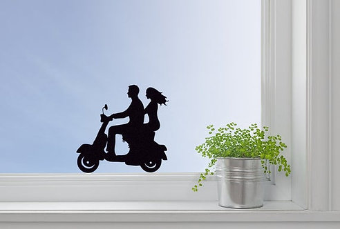 couple on scooter vinyl stickers