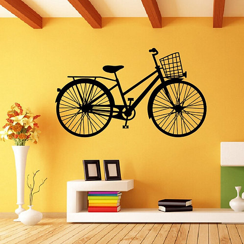 Lady bicycle vinyl decals for bedroom