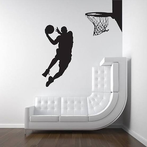 Player and basketball vinyl decales for bedroom and car