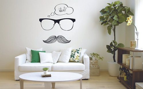 Mustache and glasses vinyl stickr for bedroom and sallon