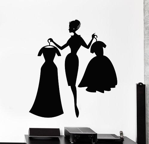 Girl with her dress vinyl decals (23.55*26.01 in ) width * height