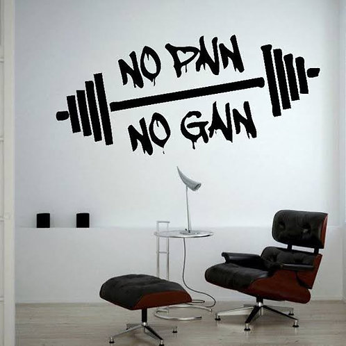 No pain no gain gym body fitness wall sticker vinyl decals