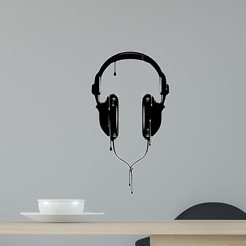 Headphone vinyl decals for laptop cars wall