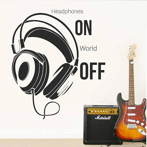 Headphone music vinyl decals