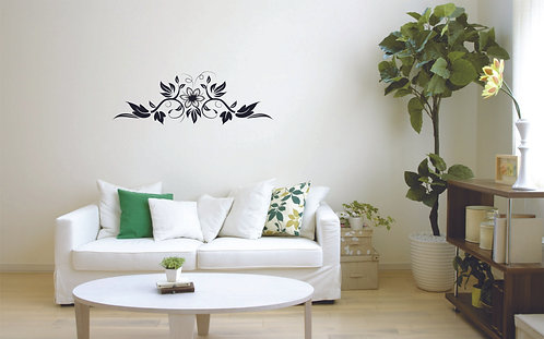 Flower design mirror and bedroom vinyl decal