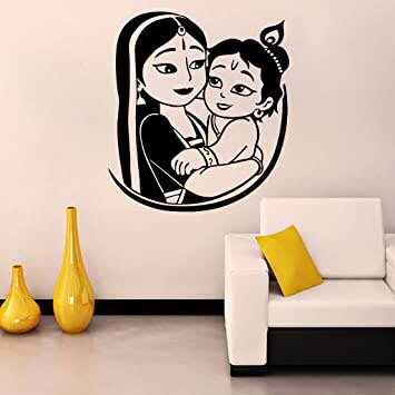 Krishna and yashoda vinyl cut sticker for wall ( 50* 60 Cm )  for wlls