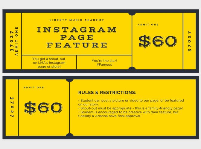 Instagram Feature Golden Ticket