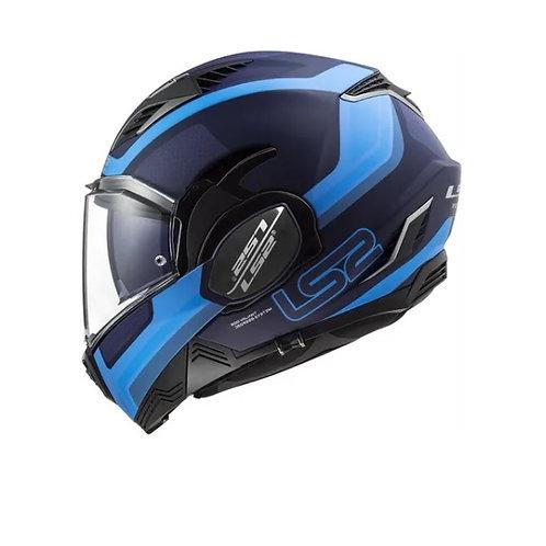 Casco Moto LS2 Valiant II Orbit Blue Rebate 180 Grados