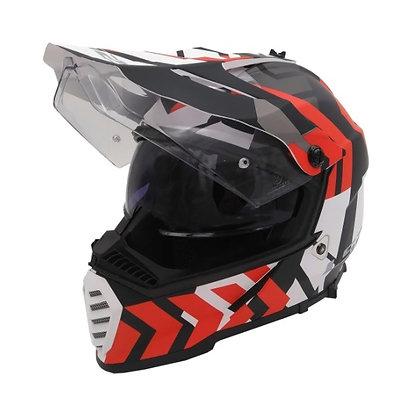 Casco Moto Ls2 Mx436 Pioneer Xtreme Negro Rojo