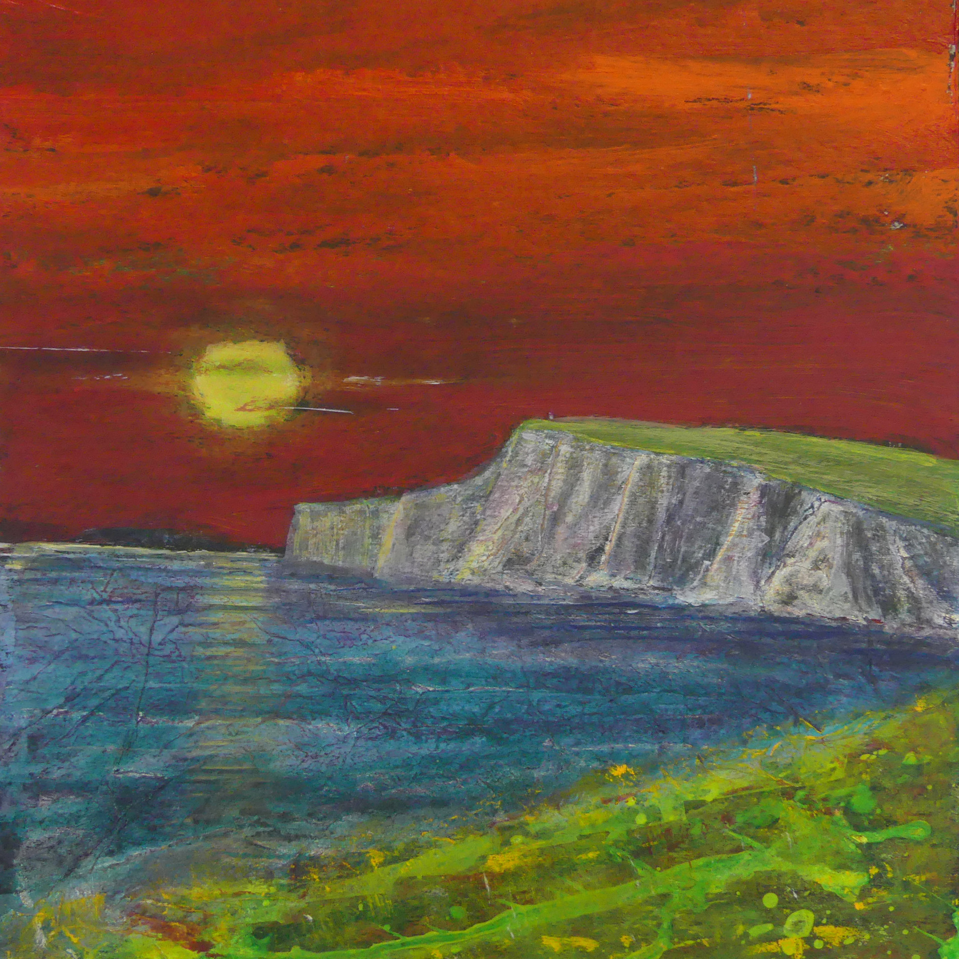 Burning Sky Over the Wight  - SOLD