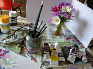 Watercolouring some Cosmos daisies