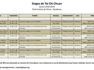 TAI CHI CHUAN : Toutes les dates de stages de la saison 2018-2019 !!