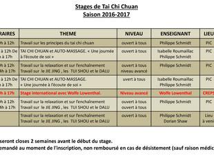 Calendrier de la saison des stages de TAI CHI CHUAN