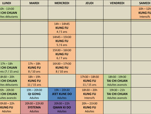 Les disciplines et horaires de la rentrée prochaine !!