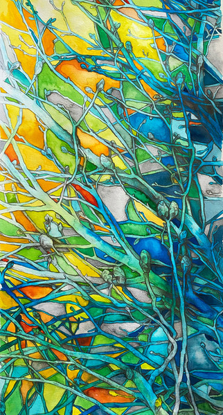 """Fourth in the Tree series and painted late spring of 2020, Spirit of Spring was an outpouring of love for the rebirth of nature and the ability to be outside to witness it.   watercolor dyes on paper white wood frame with white mat 24"""" x 12"""""""