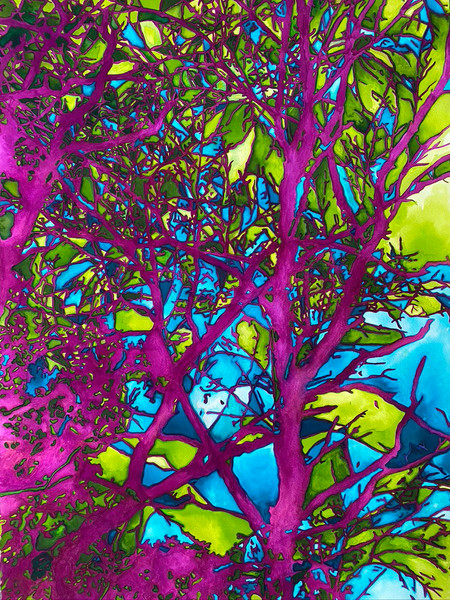 """Third in the tree series, Transcendent Summer is a retelling of the vivid and fleeting memory of summer.   watercolor dyes on paper  22"""" x 30"""""""
