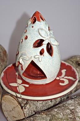 Windlicht mit Teller in Rot-Weiß, Steinzeug, Mondkeramik TiSaTo Hiltpolt