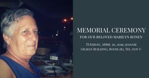 Memorial Ceremony for Marilyn Ronen