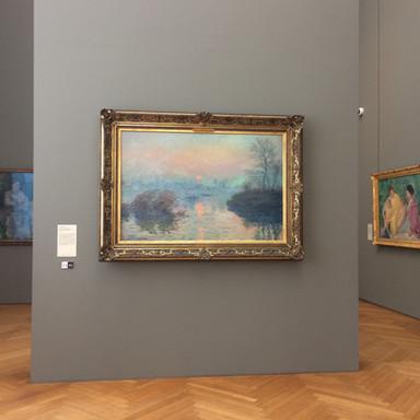 莫內《印象。日落》Claude Monet, Soleil couchant sur la Seine à Lavacourt, effet d'hiver