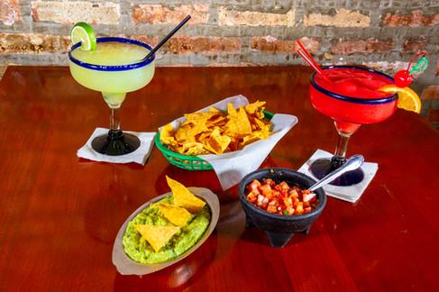 Margaritas, guacamole and salsa