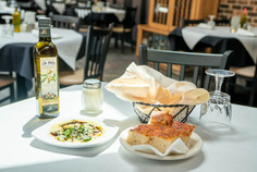 Our very own La Villa Branded Olive Oil and focaccia