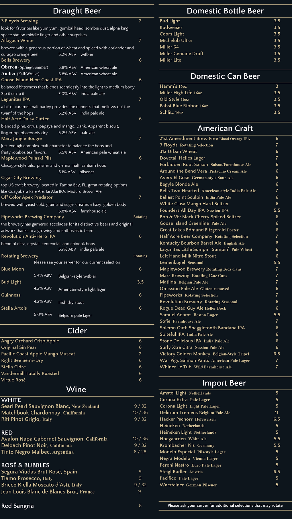 Crawfords BEVERAGE Menu SPRING-SUMMER 20