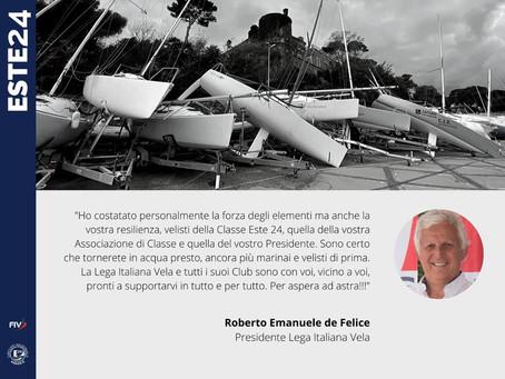 Messaggio del Presidente alla Classe Este24 colpita dalla tromba d'aria a Santa Marinella l'8/11